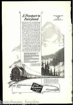 1923 Chicago Milwaukee & St Paul Railway advertisement, Olympian electric loco