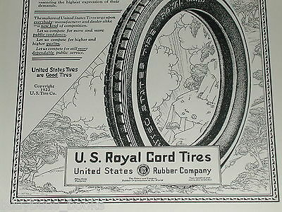1922 U. S. Tires advertisement, United States Rubber, Royal Cord