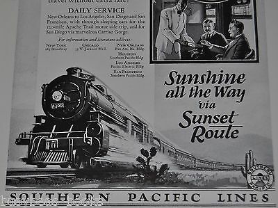 1925 Southern Pacific advertisement, Sunset Limited, speeding steam locomotive