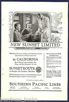 1924 SOUTHERN PACIFIC advertisement, Sunset Limited, porter serving cigars