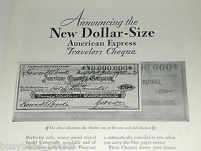 1930 American Express Company ad, Travelers Cheques