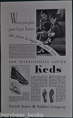 1934 KEDS Shoes advertisement, High-top running shoes, Mom & Boy, US Rubber