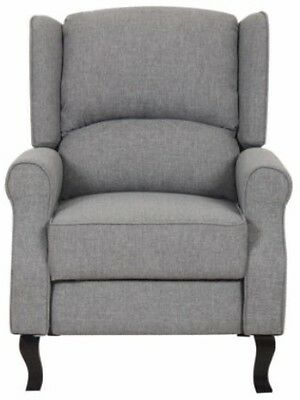 Accent Chairs Wingback.Gray Modern Wingback Linen Fabric Recliner Chair Grey Accent Chairs Recliners