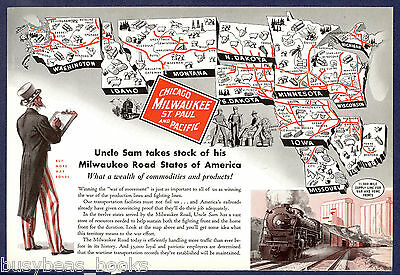 1943 MILWAUKEE ROAD advertisement, Uncle Sam, Route map