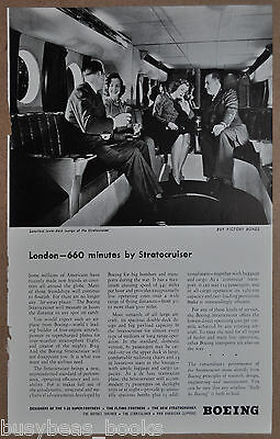 1945 Boeing STRATOCRUISER advertisement, smoking in the lounge