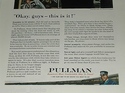 1943 PULLMAN advertisement, Railroad Passenger troop transport WWII, Sarge & GIs