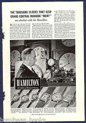 1940 HAMILTON WATCH advertisement, NYC Grand Central Terminal time keeper