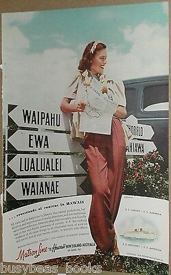 1940 Matson Lines advertisement, Hawaii, Oahu, young lady at cross-road signs