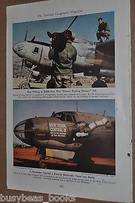 1948 magazine article about WWII Airplane Nose Art, plane names, color photos