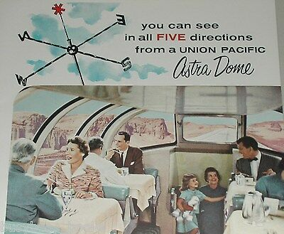 1957 Union Pacific Railroad advertisement, Astra Dome dining car, UP RR