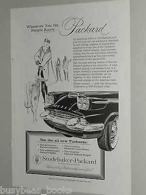 1958 Packard advertisement, Studebaker-Packard, elegant lady with Whippet