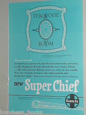 1951 Santa Fe Railroad advertisements x2, ATSF, Turquoise Room, Super Chief