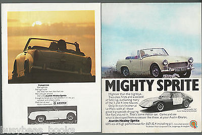 1968 AUSTIN HEALEY SPRITE advertisements x2, British advert, BMC Sprite, color
