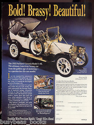 1992 Franklin Mint advertisement for 1912 PACKARD VICTORIA model