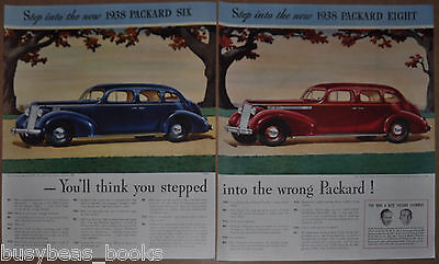 1938 PACKARD 2-page advertisement, Packard 6 and Packard 8 Touring Sedan