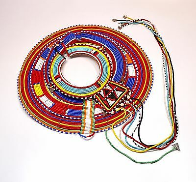 "Set of 2 Maasai African Beaded Collar Necklaces 15"" + 8"""