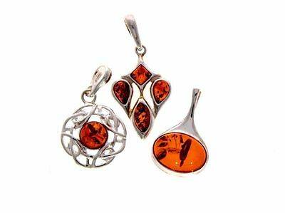 WHOLESALE JOB LOT 3 Baltic Amber & 925 Solid Sterling Sterling Silver PENDANTS