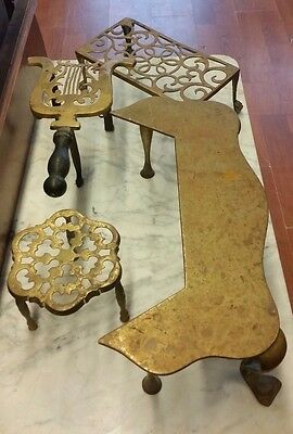 Antique Brass Trivets   Set of 4