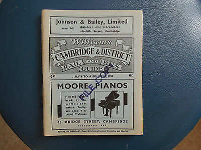 Cambridge and District rail and bus timetable July 1955