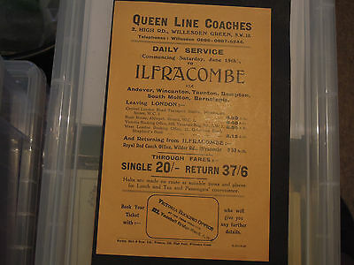 Queen Line Coaches London to Ilfracombe coach timetable c 1930