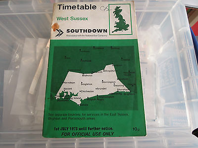 Southdown West Sussex bus timetable July 1973