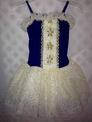 Weissman Ballet Dance Tutu Dress Leotard Cream, Gold, Royal Blue Size MC~ EUC!