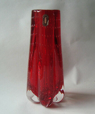 Lovely Vintage Whitefriars Controlled Bubble Lobed Glass Vase + Label 9777