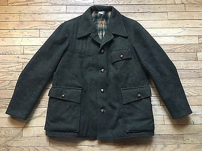 Vintage Wool Coat Jacket Green Made In Germany Men's Large Plaid Flannel Lining