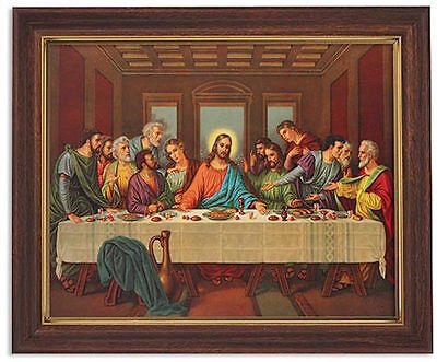 last supper of jesus print in wood tone frame under glass christian