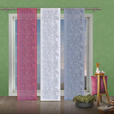 Net Lace Window Panel Leaves Blind Curtain Fly Screen Slot top Pink White Grey