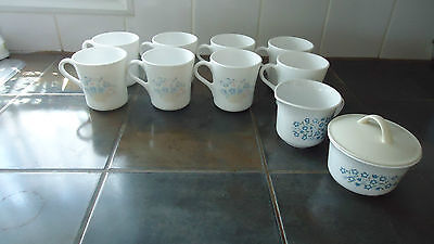 Vintage Corning Corelle  Cups, Set Of 8, with cream & sugar