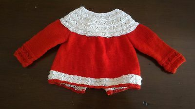 baby girl red white cardigan jumper size 000 (0 - 3 months)