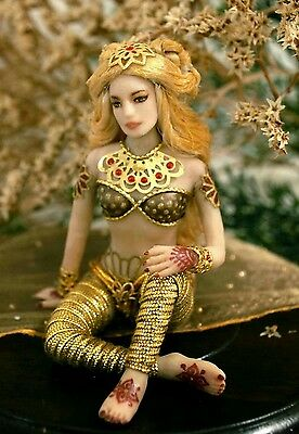 OOAK 1:12 scale doll - princess in glittery gold dress