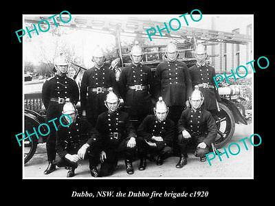 OLD LARGE HISTORIC PHOTO OF DUBBO NSW, THE DUBBO FIRE BRIGADE TEAM c1920