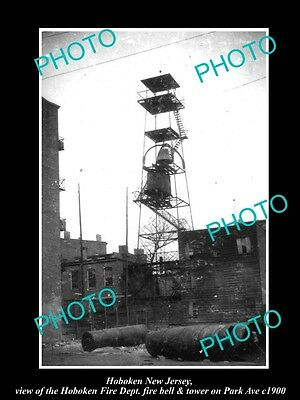 OLD LARGE HISTORIC PHOTO OF HOBOKEN NEW JERSEY, FIRE DEPARTMENT BELL TOWER c1900