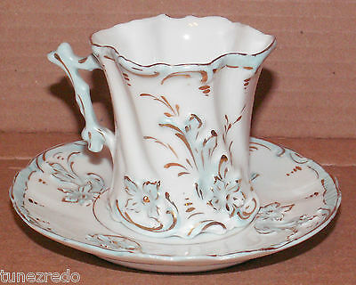 Vintage Tea Cup & Saucer Porcelain Demitasse Floral Scalloped Twisted Shabby