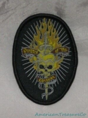 """New DISNEY Embroidered 3.25"""" Black PIRATES OF THE CARIBBEAN Snap On Or Sew PATCH"""