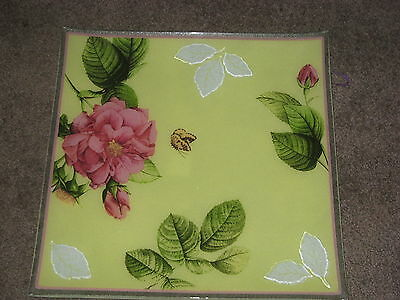 Gorham Rose Serenade Fused Design Square Platter new in box