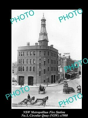 OLD LARGE HISTORIC PHOTO OF NSW METRO FIRE BRIGADE STATION, CIRCULAR QUAY c1900