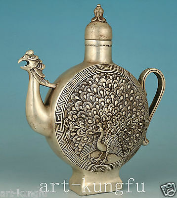 Good Chinese Old Copper Plating Silver Hand Carved Peacock Statue Tea pot