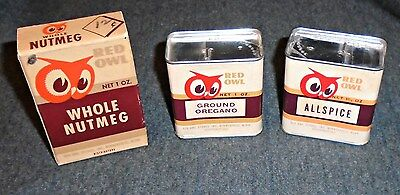 Vintage 1960's Lot of 3 Red Owl Stores - 2 Spice Tins & Spice Box