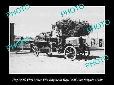 OLD LARGE HISTORIC PHOTO OF HAY NSW, THE NSW FIRE BRIGADE 1st TRUCK IN HAY c1920