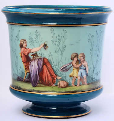 Antique Blue Porcelain Sevres Style Planter Hand Painted Cache Pot