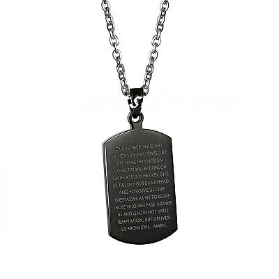 """Stainless Steel English Lords Prayer Dog Tag Pendant Men Women Necklace 26"""""""