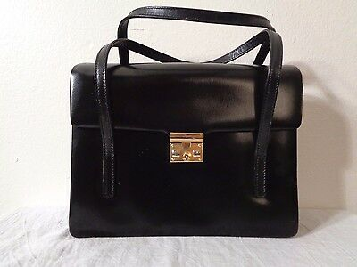 VINTAGE 50s MADE IN FRANCE BLACK LEATHER GOLD CLASP LOCK & KEY KELLY PURSE