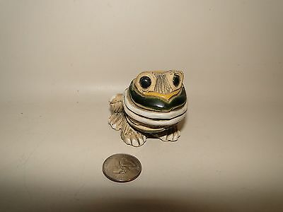 Green Yellow White Big Mouth Pottery Frog