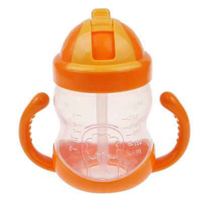 Baby Toddler Drinking Bottle Training Straw Cup with Handle Water Milk Sippy Cup