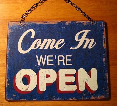 Vintage Style Tin Metal OPEN CLOSED Country Primitive Store Chain Sign Decor NEW