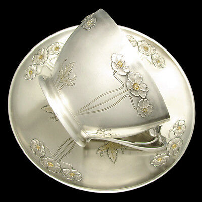 Large Art Nouveau French Sterling Silver Gilt Vermeil Coffee Tea Cup Saucer