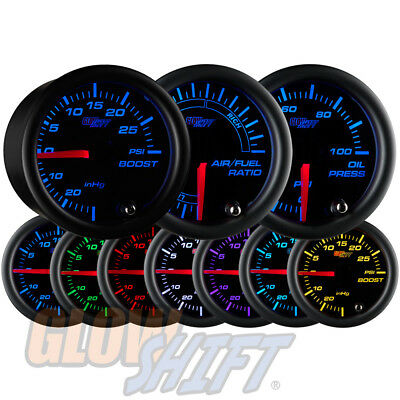 52mm GLOWSHIFT BLACK FACE 7 COLOR LED TURBO BOOST, OIL PRESSURE & AIRFUEL GAUGES
